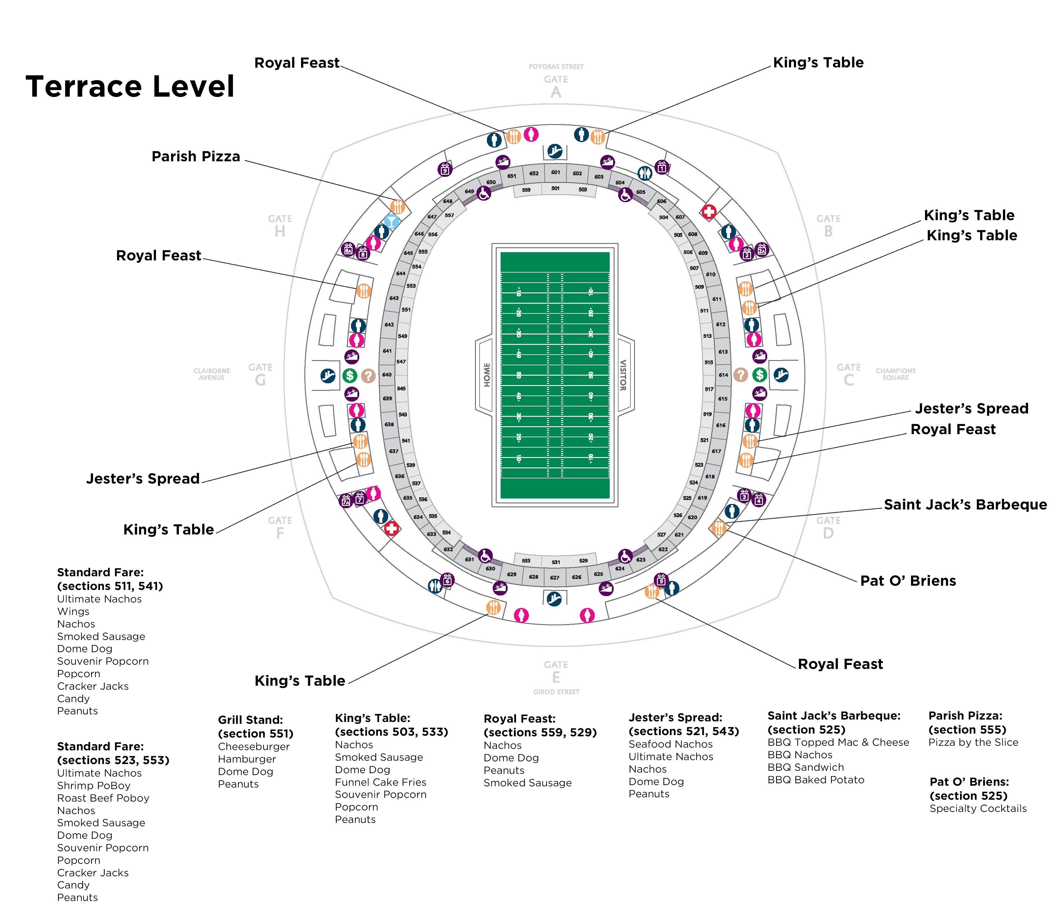 Food and beverage mercedes benz superdome for Mercedes benz stadium suite map