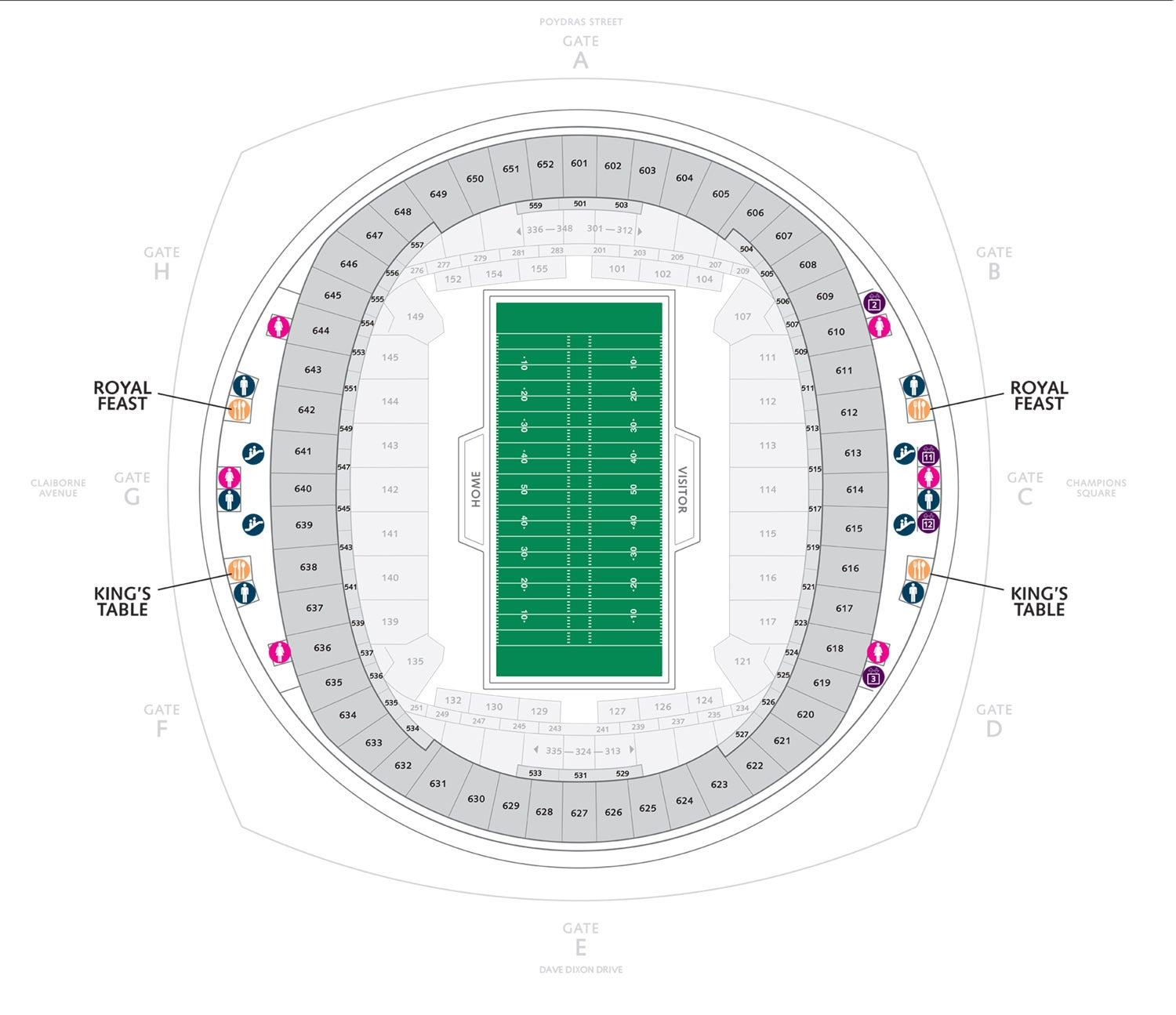 Mercedes Benz Superdome Seating Chart Section Row Seat: Mercedes-Benz Superdome