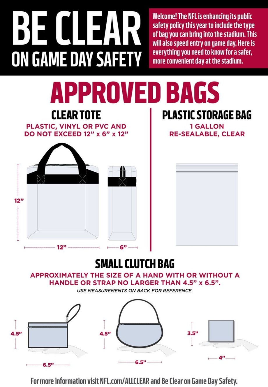 A Printable Summary Of Stadium Bag Policy Day Security Information Can Be Ed Here