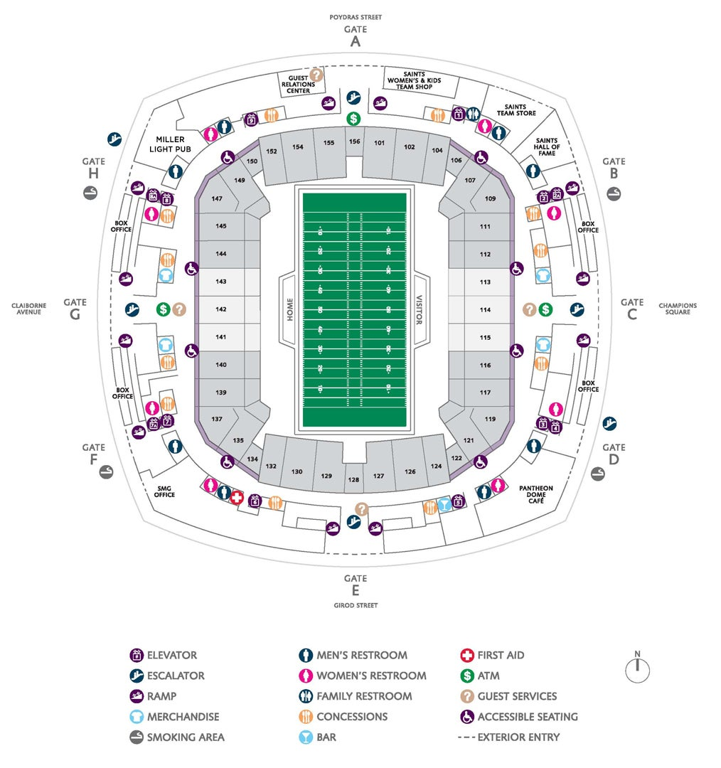 Superdome seating chart with seat numbers for Plaza mercedes benz service